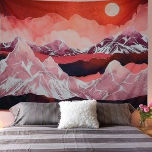 Red Mountains Abstract Sunset Tapestry